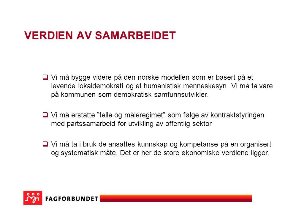 VERDIEN AV SAMARBEIDET  Vi må bygge videre på den norske modellen som er basert på et levende lokaldemokrati og et humanistisk menneskesyn.