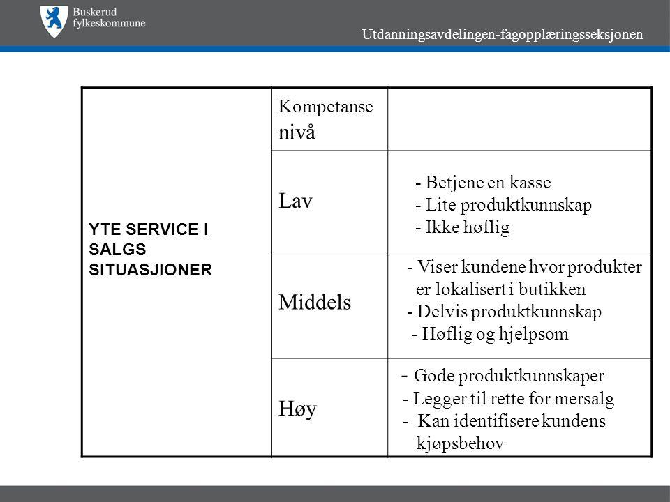 Utdanningsavdelingen-fagopplæringsseksjonen YTE SERVICE I SALGS SITUASJIONER Kompetanse nivå Lav Middels Høy - Betjene en kasse - Lite produktkunnskap