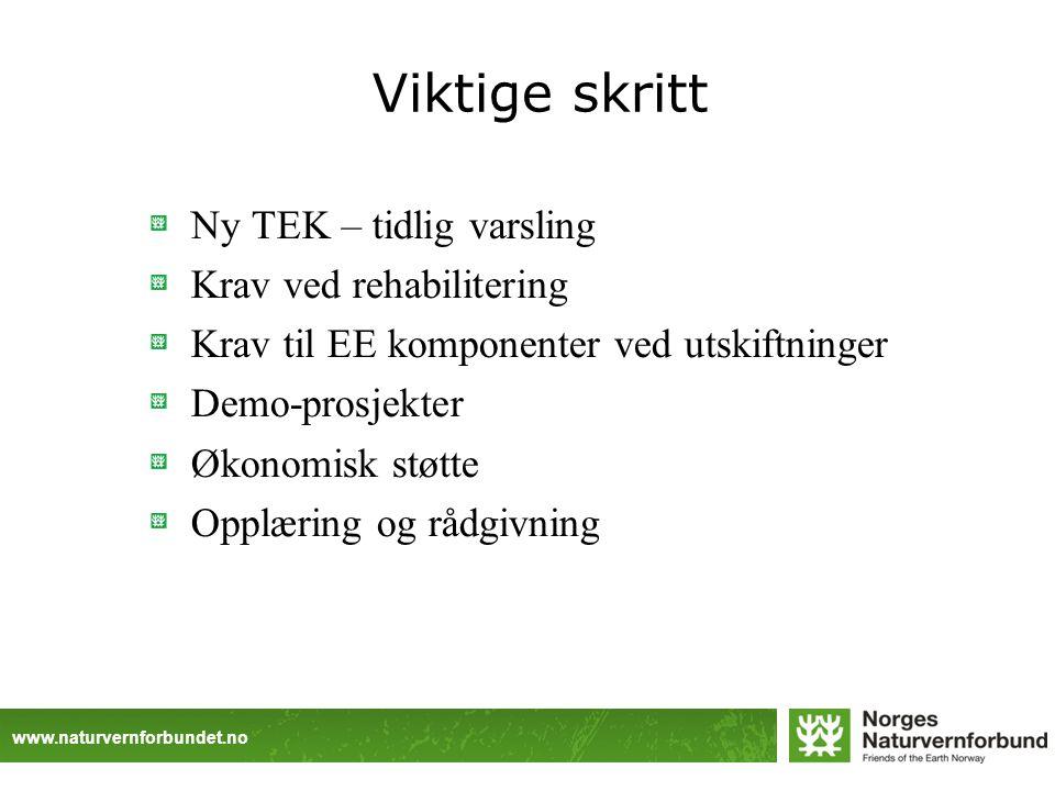www.naturvernforbundet.no Viktige skritt Ny TEK – tidlig varsling Krav ved rehabilitering Krav til EE komponenter ved utskiftninger Demo-prosjekter Økonomisk støtte Opplæring og rådgivning