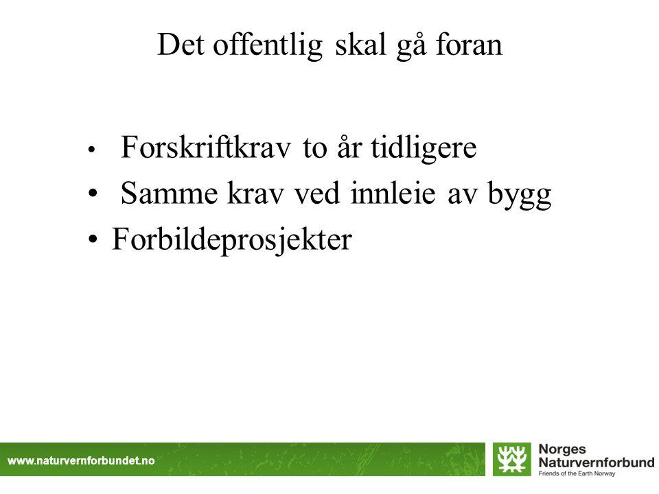 www.naturvernforbundet.no Det offentlig skal gå foran Forskriftkrav to år tidligere Samme krav ved innleie av bygg Forbildeprosjekter