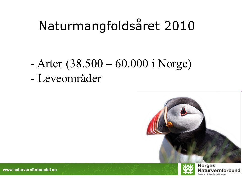 www.naturvernforbundet.no Naturmangfoldsåret 2010 - Arter (38.500 – 60.000 i Norge) - Leveområder