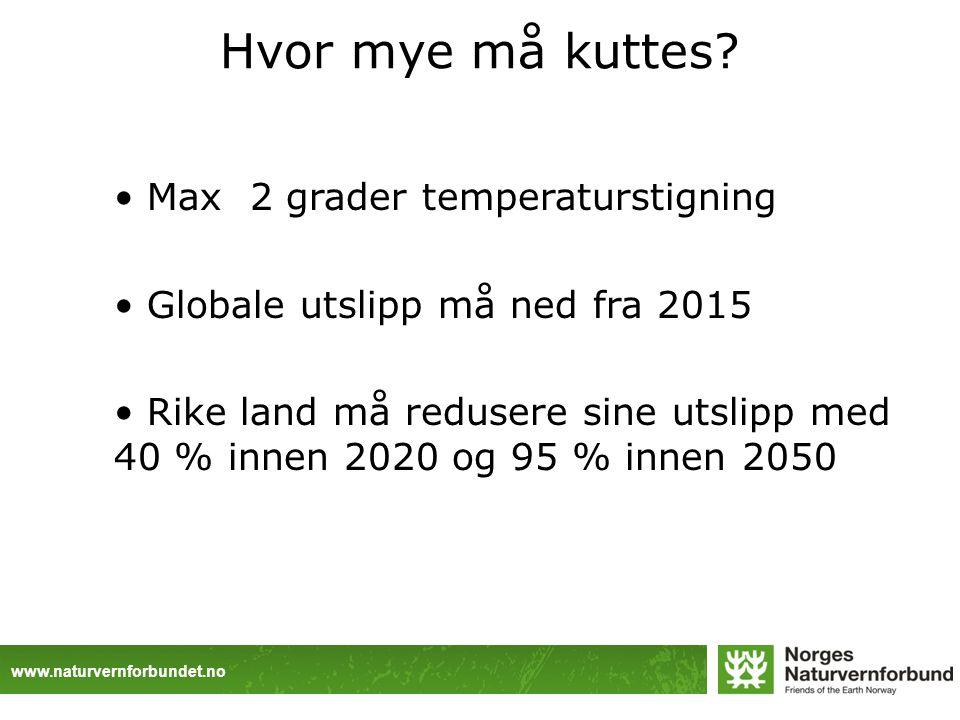 www.naturvernforbundet.no Hvor mye må kuttes? Max 2 grader temperaturstigning Globale utslipp må ned fra 2015 Rike land må redusere sine utslipp med 4