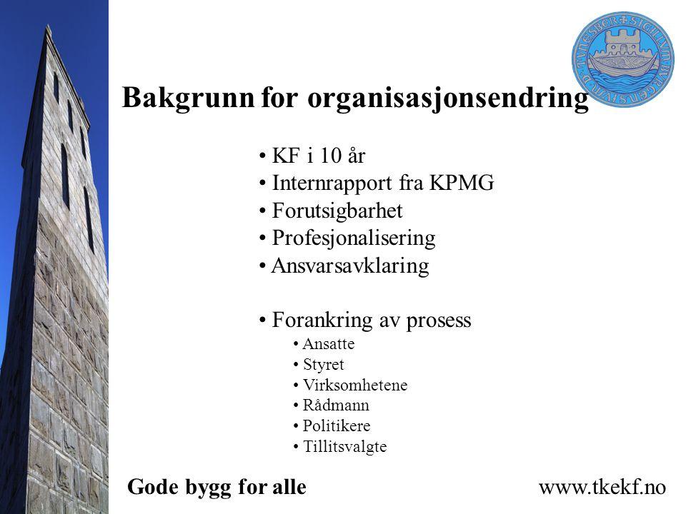 Bakgrunn for organisasjonsendring KF i 10 år Internrapport fra KPMG Forutsigbarhet Profesjonalisering Ansvarsavklaring Forankring av prosess Ansatte S