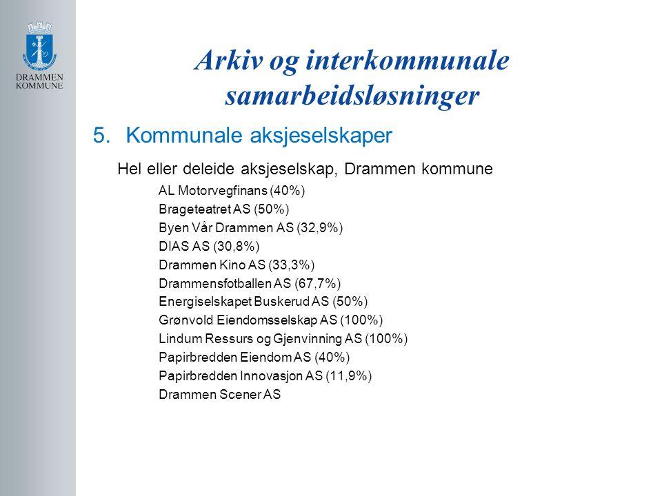 Arkiv og interkommunale samarbeidsløsninger 5.Kommunale aksjeselskaper Hel eller deleide aksjeselskap, Drammen kommune AL Motorvegfinans (40%) Bragete