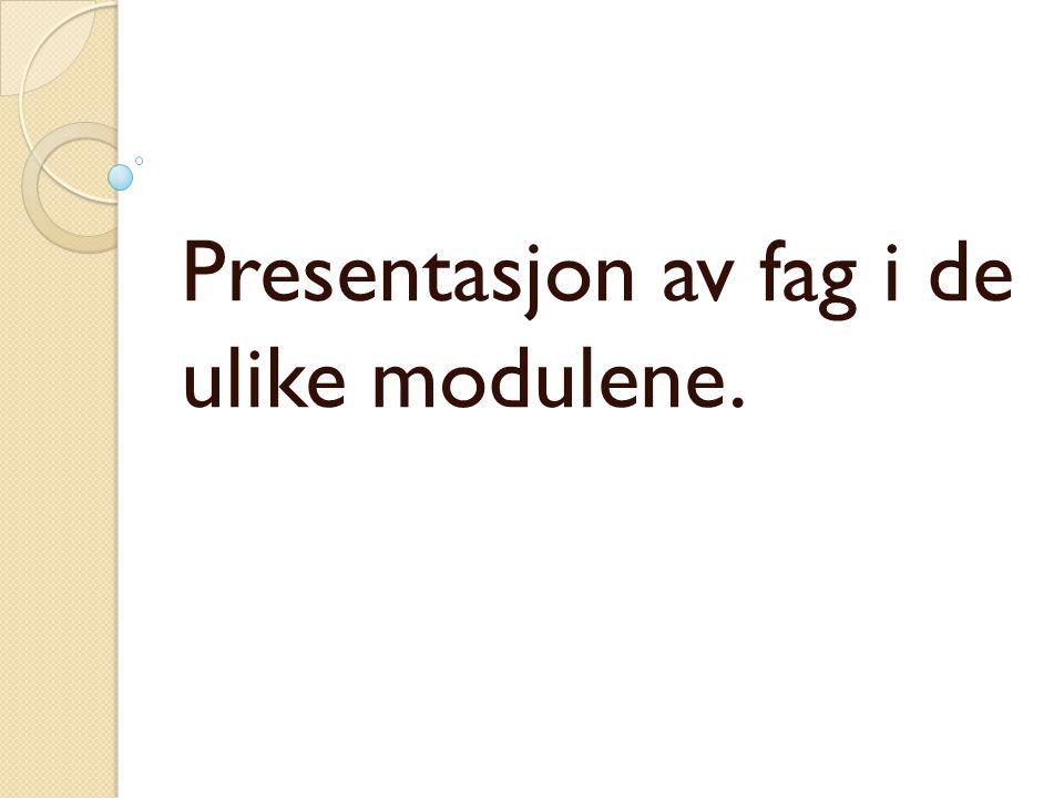 Presentasjon av fag i de ulike modulene.