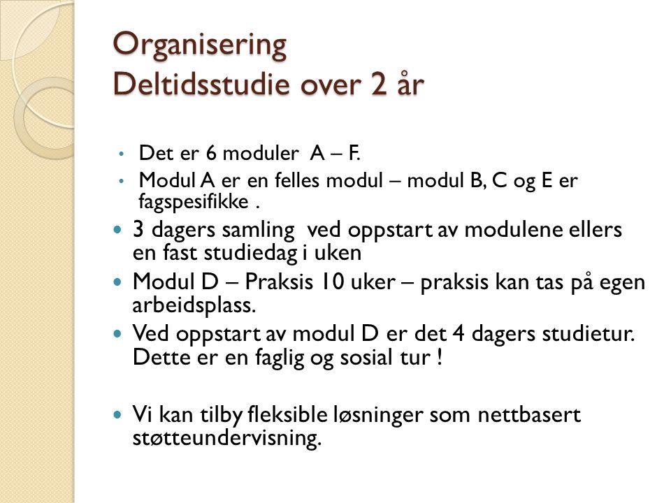 Organisering Deltidsstudie over 2 år Det er 6 moduler A – F.