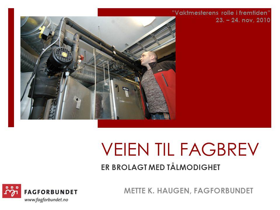 """VEIEN TIL FAGBREV ER BROLAGT MED TÅLMODIGHET METTE K. HAUGEN, FAGFORBUNDET """"Vaktmesterens rolle i fremtiden"""" 23. – 24. nov, 2010"""