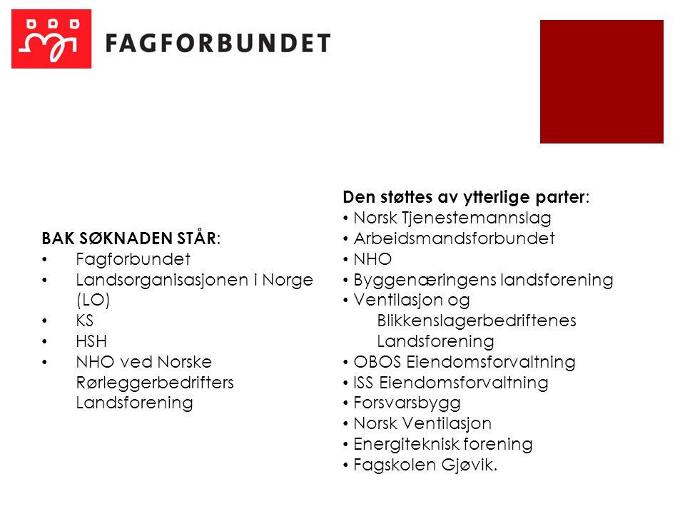 BAK SØKNADEN STÅR : Fagforbundet Landsorganisasjonen i Norge (LO) KS HSH NHO ved Norske Rørleggerbedrifters Landsforening Den støttes av ytterlige par