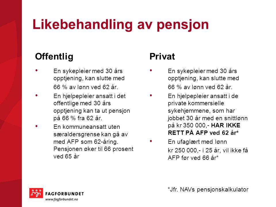 Likebehandling av pensjon Offentlig En sykepleier med 30 års opptjening, kan slutte med 66 % av lønn ved 62 år. En hjelpepleier ansatt i det offentlig