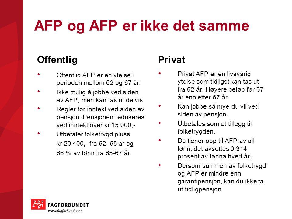 AFP og AFP er ikke det samme Offentlig Offentlig AFP er en ytelse i perioden mellom 62 og 67 år. Ikke mulig å jobbe ved siden av AFP, men kan tas ut d