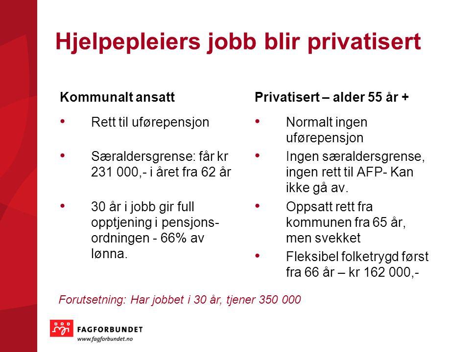 Hjelpepleiers jobb blir privatisert Kommunalt ansatt Rett til uførepensjon Særaldersgrense: får kr 231 000,- i året fra 62 år 30 år i jobb gir full op