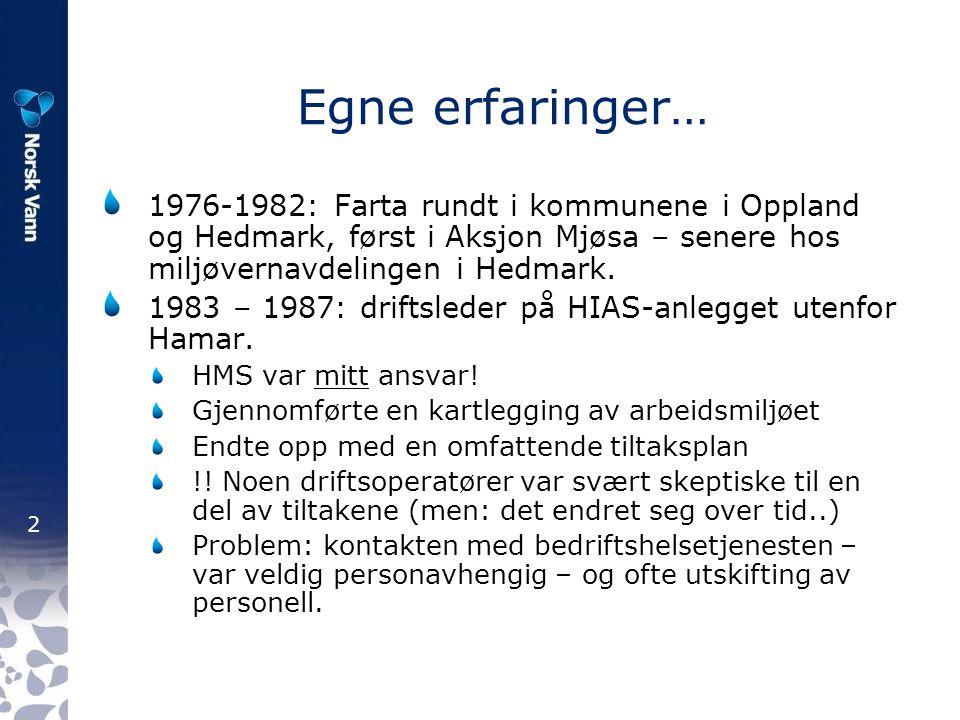 2 Egne erfaringer… 1976-1982: Farta rundt i kommunene i Oppland og Hedmark, først i Aksjon Mjøsa – senere hos miljøvernavdelingen i Hedmark. 1983 – 19
