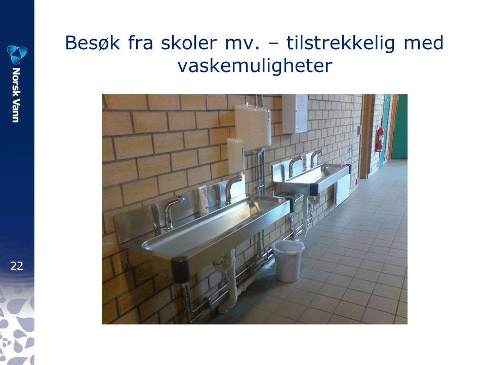 22 Besøk fra skoler mv. – tilstrekkelig med vaskemuligheter