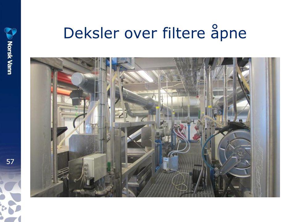 57 Deksler over filtere åpne
