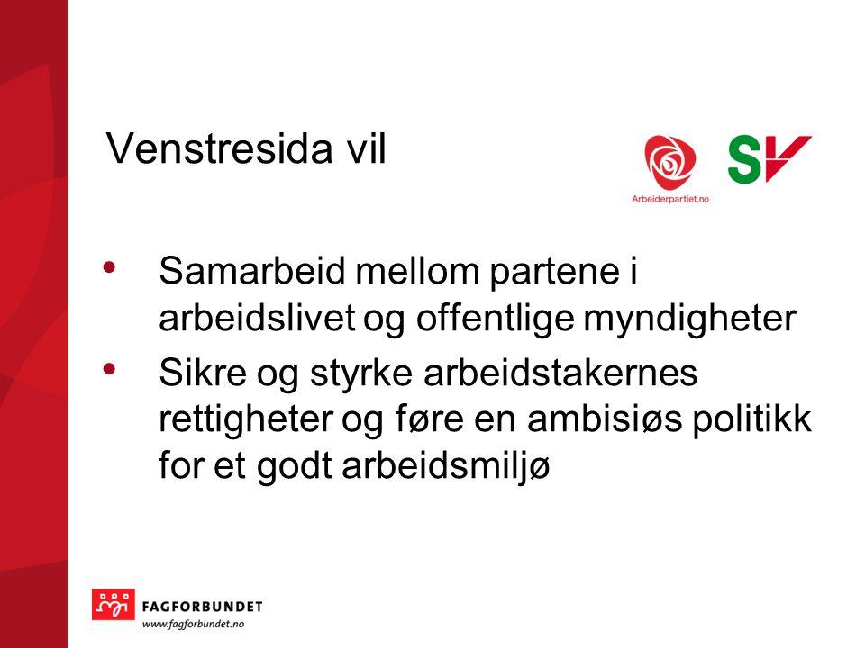 Venstresida vil Samarbeid mellom partene i arbeidslivet og offentlige myndigheter Sikre og styrke arbeidstakernes rettigheter og føre en ambisiøs politikk for et godt arbeidsmiljø