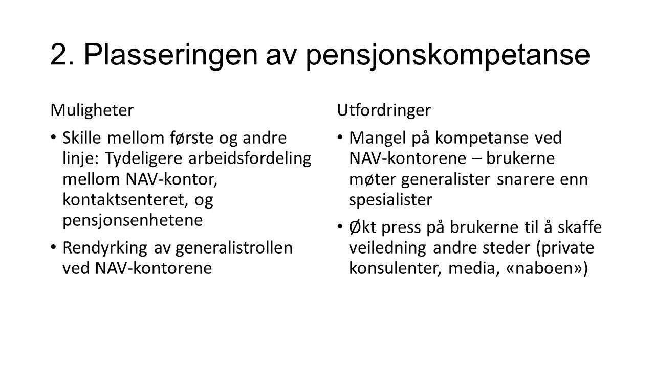 2. Plasseringen av pensjonskompetanse Muligheter Skille mellom første og andre linje: Tydeligere arbeidsfordeling mellom NAV-kontor, kontaktsenteret,
