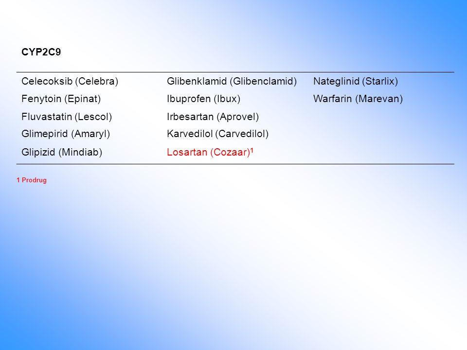 CYP2C9 Celecoksib (Celebra)Glibenklamid (Glibenclamid)Nateglinid (Starlix) Fenytoin (Epinat)Ibuprofen (Ibux)Warfarin (Marevan) Fluvastatin (Lescol)Irb