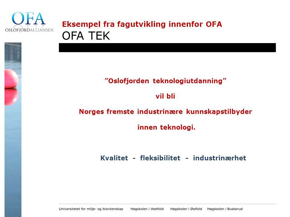 Eksempel fra fagutvikling innenfor OFA OFA TEK Oslofjorden teknologiutdanning vil bli Norges fremste industrinære kunnskapstilbyder innen teknologi.