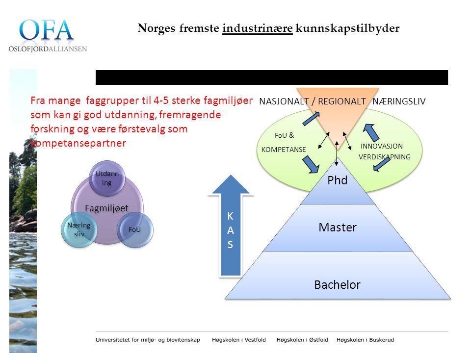 Norges fremste industrinære kunnskapstilbyder INNOVASJON VERDISKAPNING NASJONALT / REGIONALT NÆRINGSLIV FoU & KOMPETANSE Fagmiljøet Utdann ing FoU Næring sliv Fra mange faggrupper til 4-5 sterke fagmiljøer som kan gi god utdanning, fremragende forskning og være førstevalg som kompetansepartner KASKAS KASKAS
