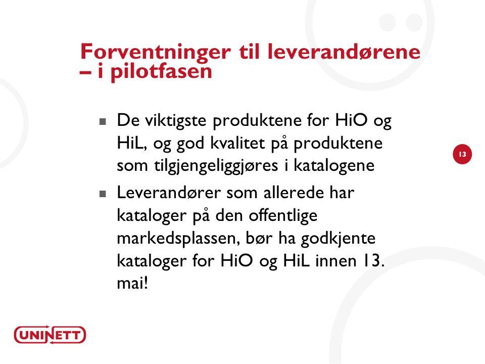 13 Forventninger til leverandørene – i pilotfasen De viktigste produktene for HiO og HiL, og god kvalitet på produktene som tilgjengeliggjøres i katalogene Leverandører som allerede har kataloger på den offentlige markedsplassen, bør ha godkjente kataloger for HiO og HiL innen 13.