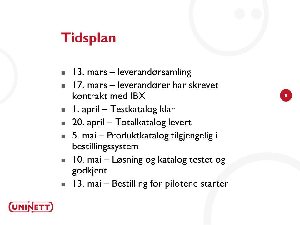 8 Tidsplan 13. mars – leverandørsamling 17. mars – leverandører har skrevet kontrakt med IBX 1.