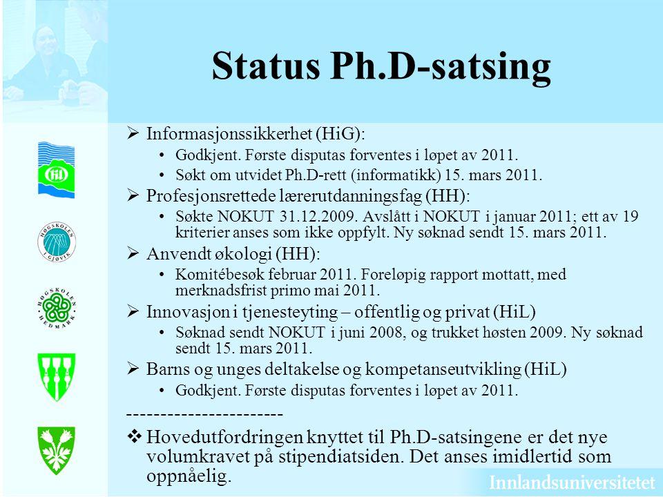 Status Ph.D-satsing  Informasjonssikkerhet (HiG): Godkjent. Første disputas forventes i løpet av 2011. Søkt om utvidet Ph.D-rett (informatikk) 15. ma