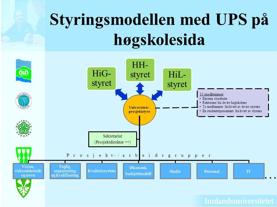 HiG- styret HH- styret HiL- styret Universitets- prosjektstyre Visjon, virksomhetsidé og navn Faglig organisering og kvalifisering Kvalitetssystem Øko