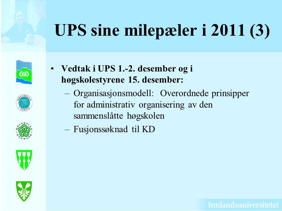 UPS sine milepæler i 2011 (3) Vedtak i UPS 1.-2. desember og i høgskolestyrene 15. desember: –Organisasjonsmodell: Overordnede prinsipper for administ