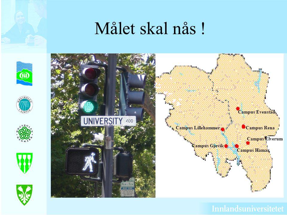 Målet skal nås ! Campus Evenstad Campus Rena Campus Elverum Campus Hamar Campus Gjøvik Campus Lillehammer