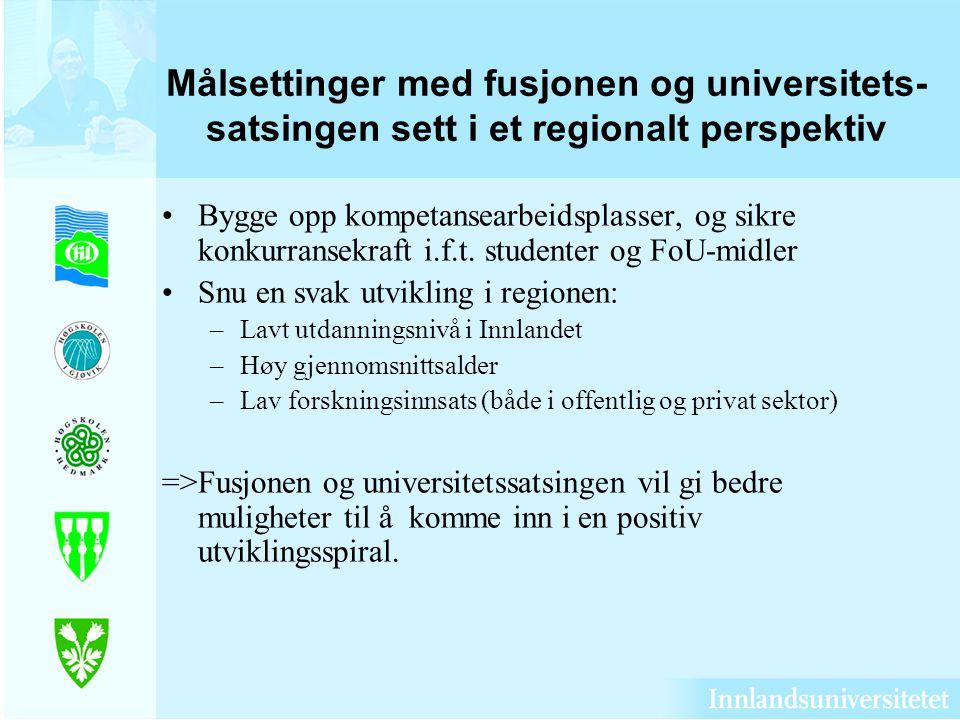 Målsettinger med fusjonen og universitets- satsingen sett i et regionalt perspektiv Bygge opp kompetansearbeidsplasser, og sikre konkurransekraft i.f.