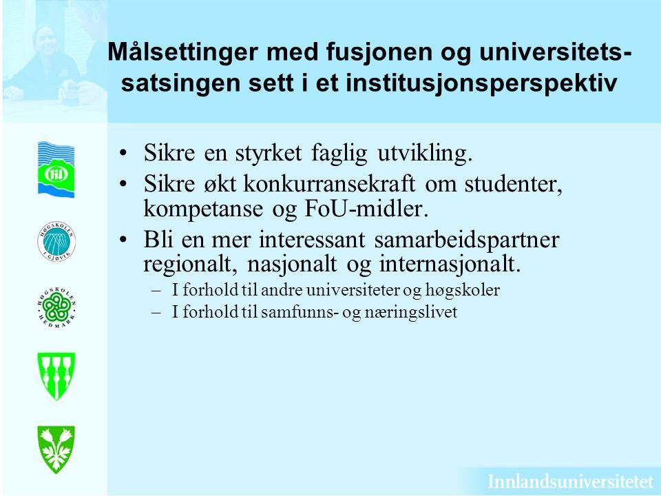 Målsettinger med fusjonen og universitets- satsingen sett i et institusjonsperspektiv Sikre en styrket faglig utvikling. Sikre økt konkurransekraft om
