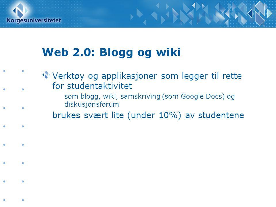 Web 2.0: Blogg og wiki Verktøy og applikasjoner som legger til rette for studentaktivitet som blogg, wiki, samskriving (som Google Docs) og diskusjons