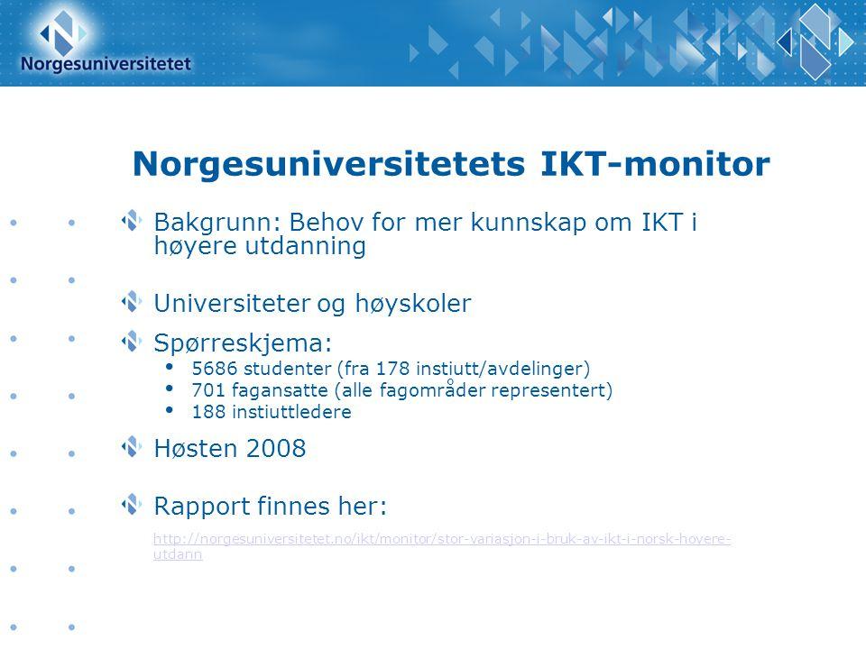 Norgesuniversitetets IKT-monitor Bakgrunn: Behov for mer kunnskap om IKT i høyere utdanning Universiteter og høyskoler Spørreskjema: 5686 studenter (f