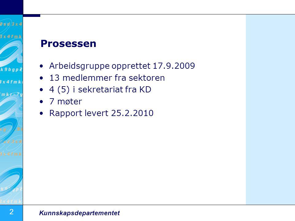 2 Kunnskapsdepartementet Prosessen Arbeidsgruppe opprettet 17.9.2009 13 medlemmer fra sektoren 4 (5) i sekretariat fra KD 7 møter Rapport levert 25.2.