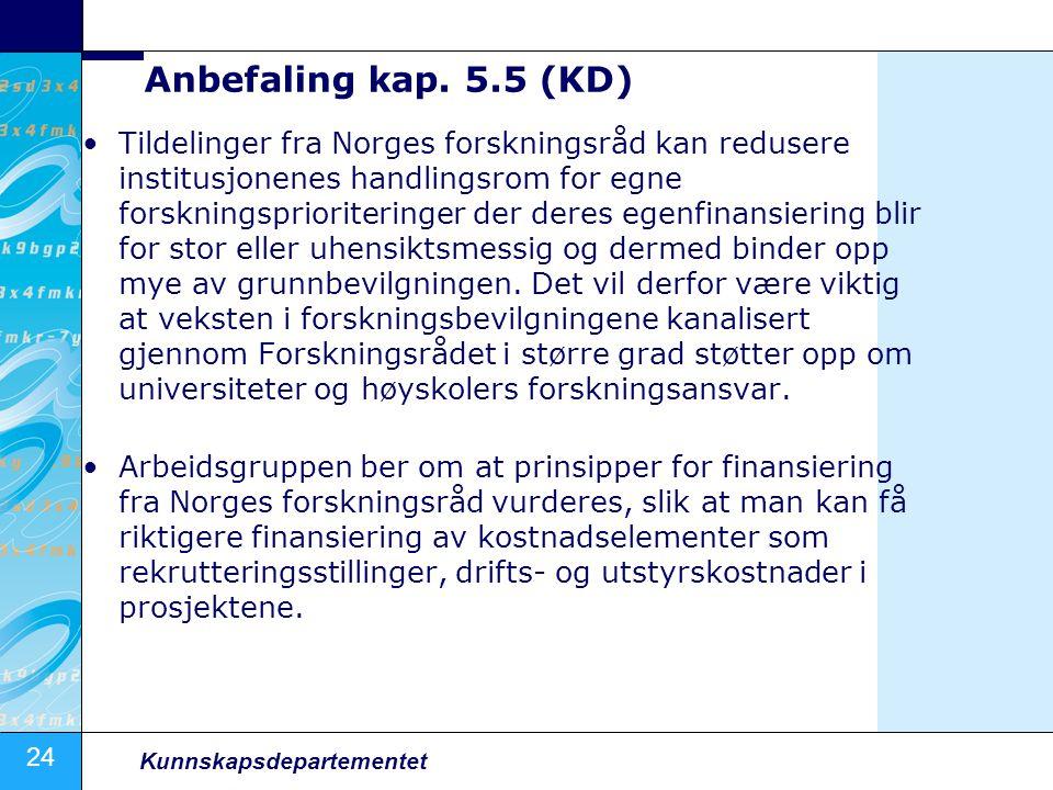 24 Kunnskapsdepartementet Anbefaling kap. 5.5 (KD) Tildelinger fra Norges forskningsråd kan redusere institusjonenes handlingsrom for egne forskningsp
