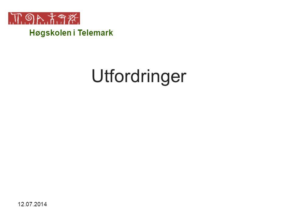 12.07.2014 Utfordringer Høgskolen i Telemark