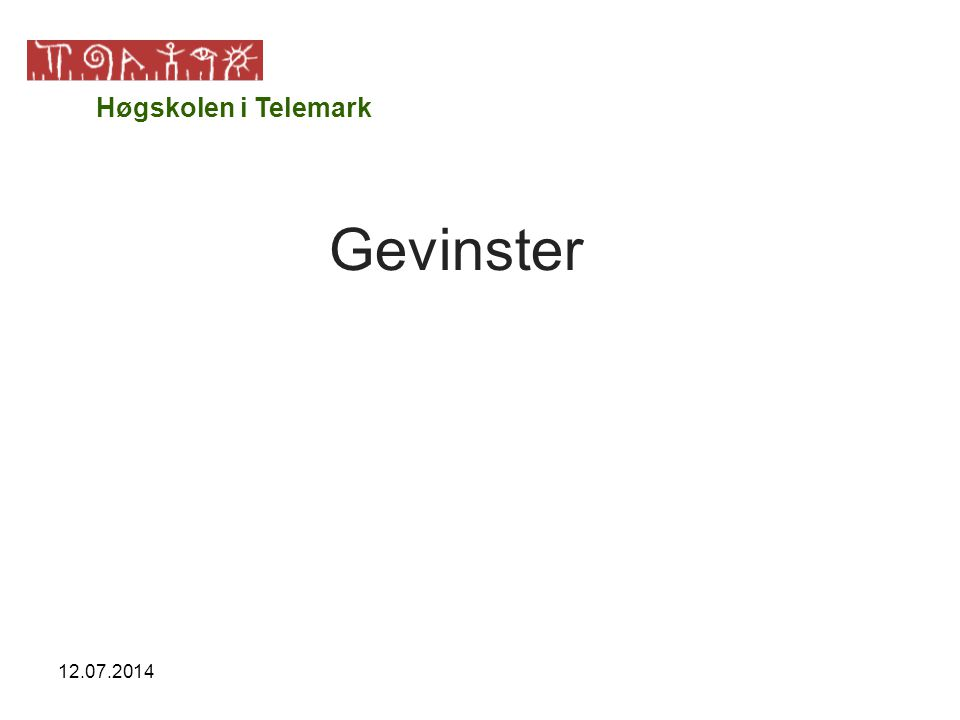 12.07.2014 Gevinster Høgskolen i Telemark