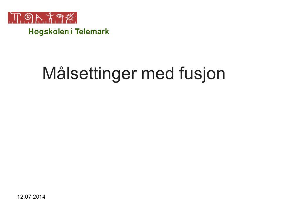 12.07.2014 Målsettinger med fusjon Høgskolen i Telemark