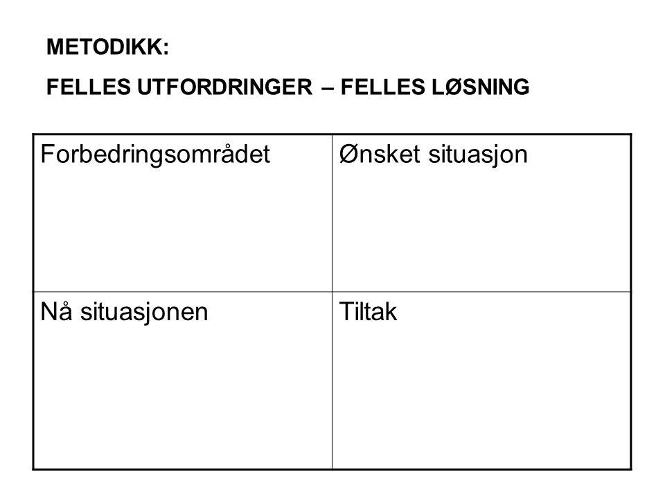 ForbedringsområdetØnsket situasjon Nå situasjonenTiltak METODIKK: FELLES UTFORDRINGER – FELLES LØSNING