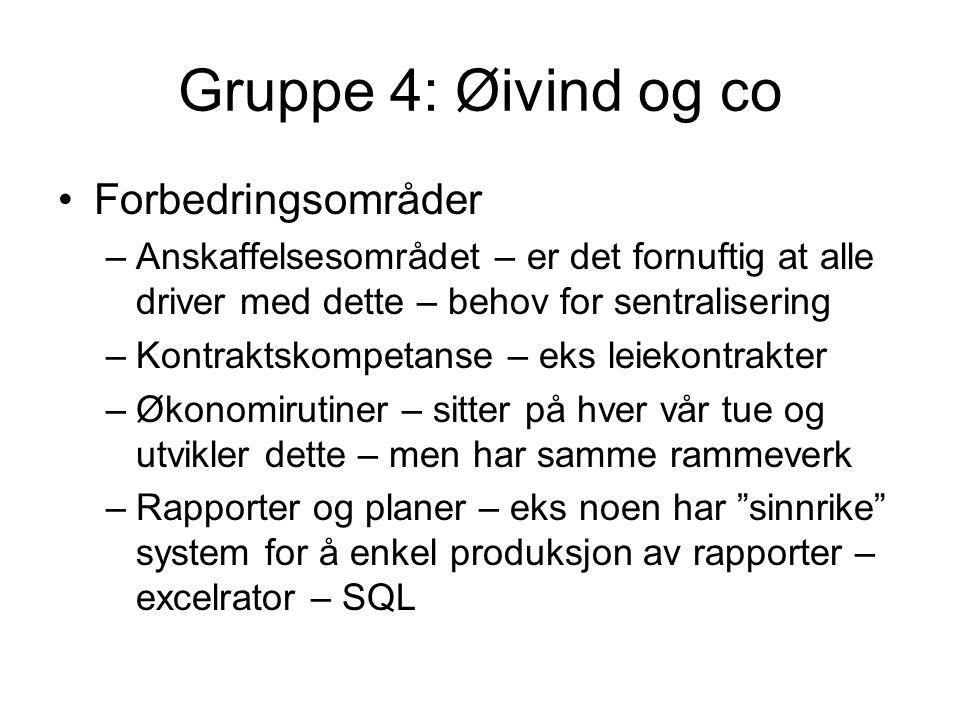 Gruppe 4: Øivind og co Forbedringsområder –Anskaffelsesområdet – er det fornuftig at alle driver med dette – behov for sentralisering –Kontraktskompet