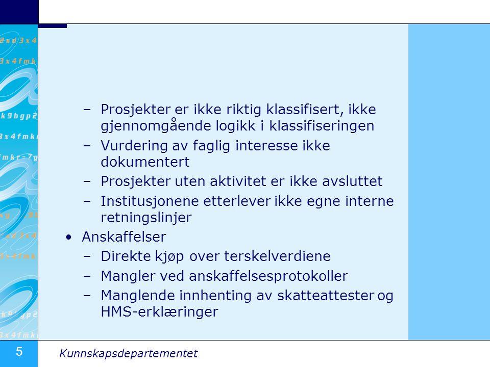 5 Kunnskapsdepartementet –Prosjekter er ikke riktig klassifisert, ikke gjennomgående logikk i klassifiseringen –Vurdering av faglig interesse ikke dok