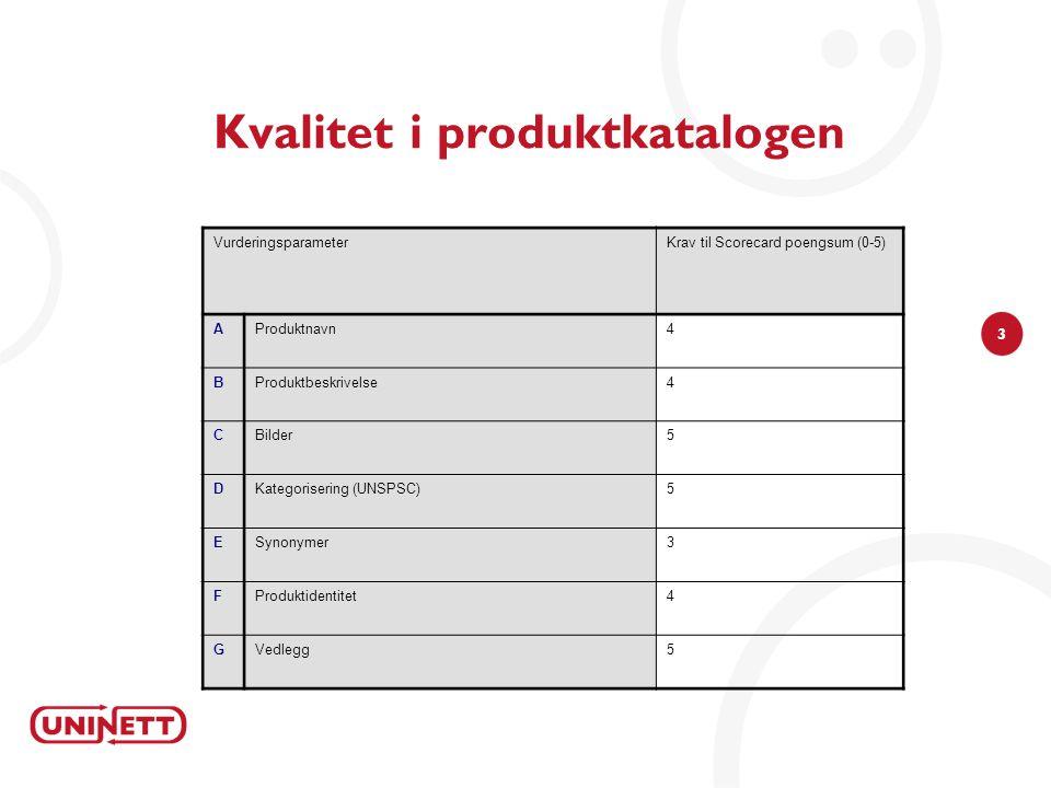3 Kvalitet i produktkatalogen VurderingsparameterKrav til Scorecard poengsum (0-5) AProduktnavn4 BProduktbeskrivelse4 CBilder5 DKategorisering (UNSPSC)5 ESynonymer3 FProduktidentitet4 GVedlegg5