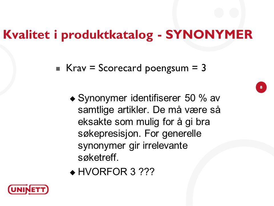 8 Kvalitet i produktkatalog - SYNONYMER Krav = Scorecard poengsum = 3  Synonymer identifiserer 50 % av samtlige artikler.