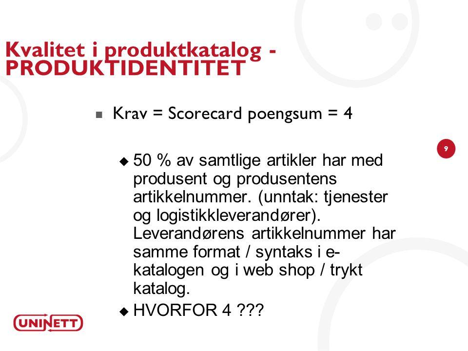 9 Kvalitet i produktkatalog - PRODUKTIDENTITET Krav = Scorecard poengsum = 4  50 % av samtlige artikler har med produsent og produsentens artikkelnummer.
