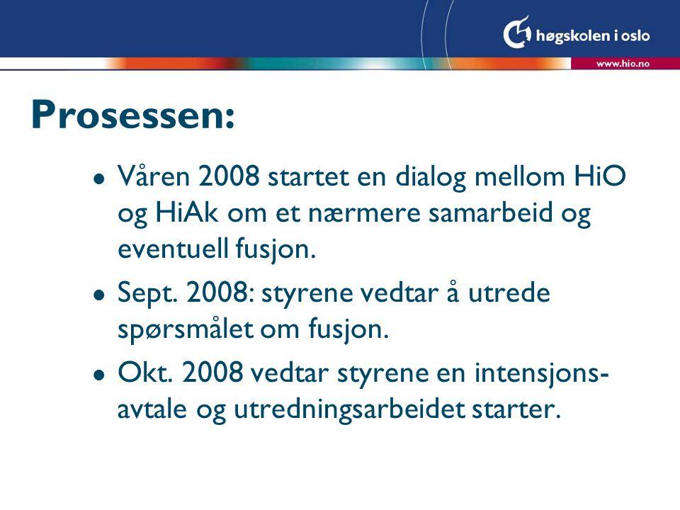 Prosessen: l Våren 2008 startet en dialog mellom HiO og HiAk om et nærmere samarbeid og eventuell fusjon. l Sept. 2008: styrene vedtar å utrede spørsm