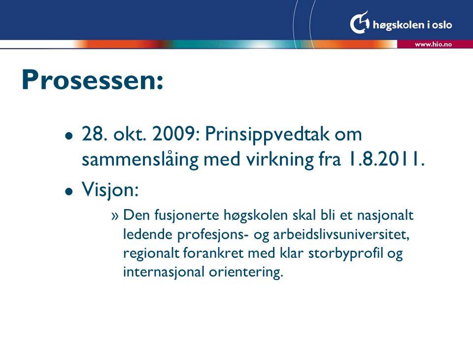 Prosessen: l 28. okt. 2009: Prinsippvedtak om sammenslåing med virkning fra 1.8.2011. l Visjon: »Den fusjonerte høgskolen skal bli et nasjonalt ledend