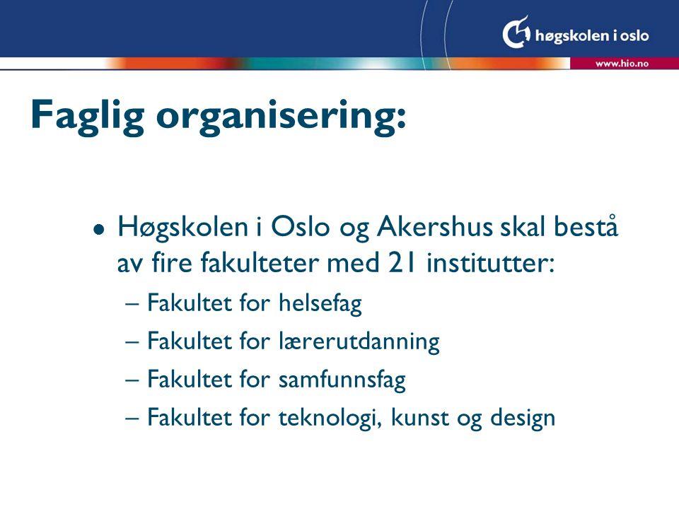 Faglig organisering: l Høgskolen i Oslo og Akershus skal bestå av fire fakulteter med 21 institutter: –Fakultet for helsefag –Fakultet for lærerutdann