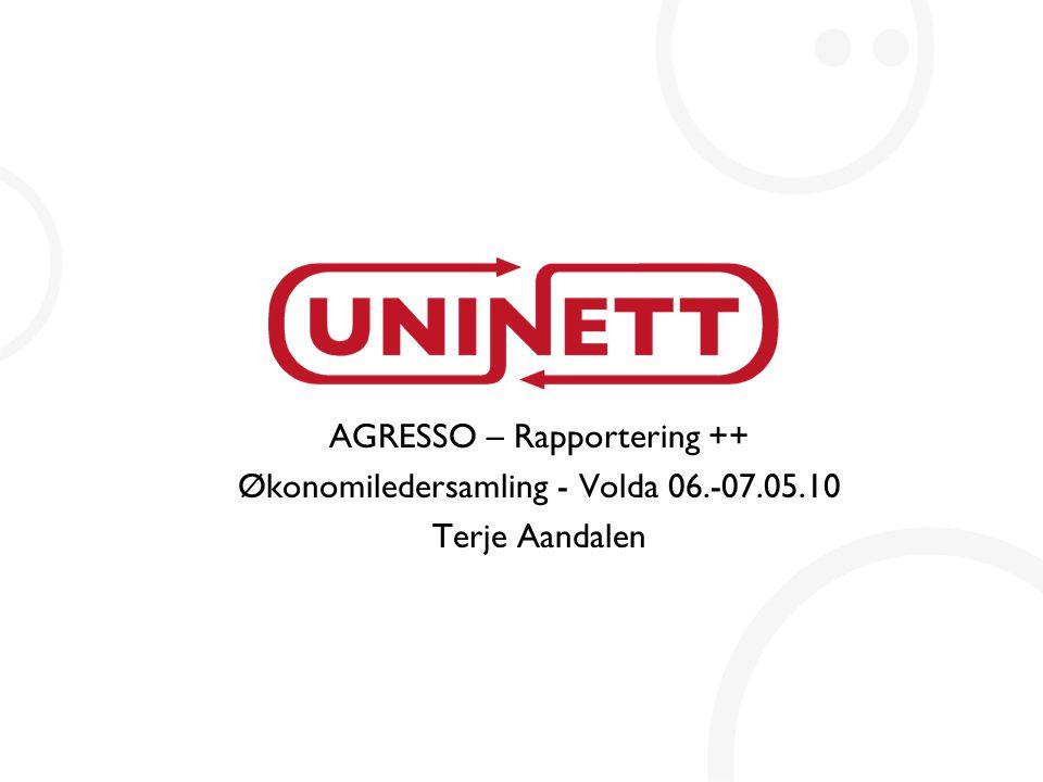 AGRESSO – Rapportering ++ Økonomiledersamling - Volda 06.-07.05.10 Terje Aandalen