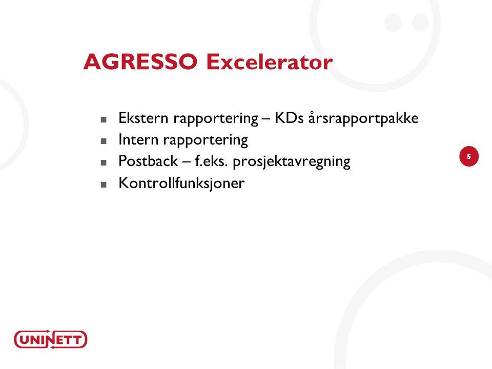 5 AGRESSO Excelerator Ekstern rapportering – KDs årsrapportpakke Intern rapportering Postback – f.eks. prosjektavregning Kontrollfunksjoner