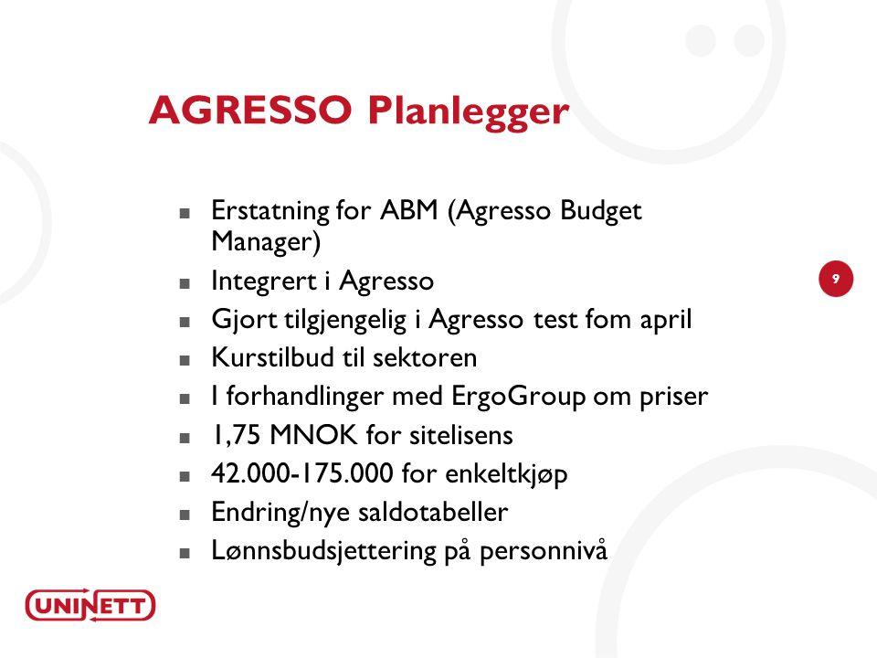 9 AGRESSO Planlegger Erstatning for ABM (Agresso Budget Manager) Integrert i Agresso Gjort tilgjengelig i Agresso test fom april Kurstilbud til sektor